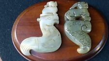 Group of Two Jade Nephrite Amulets Pixiu on Pheonix--Dragon Bird.