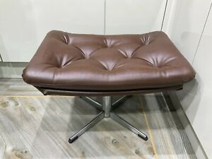 Vintage ,retro Footstool , Brown Leatherette ,buttoned , Chrome Base ,legs