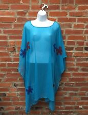 Vintage 70s Sheer Caftan Swim Coverup Dress Womens Blue Floral Print (1828)
