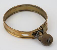 Victorian brass dog collar and padlock. Isaac Newton mathematics interest.