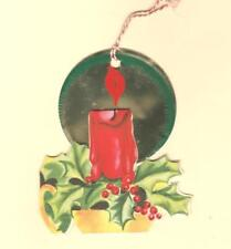 Unused 1940S Vtg Brilliants Xmas Card Ornament, Die Cut W Foil Red Candle