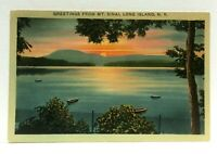 Mt Sinai Long Island New York Greetings Boats Sunset Linen Vintage Postcard