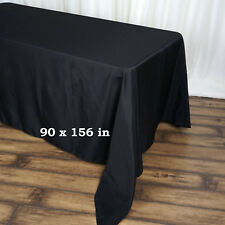 "BLACK Polyester 90x156"" Rectangle TABLECLOTHS Wedding Party Home Linens SALE"