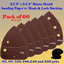 60X Mouse Detail Sander Sandpaper Hook & Loop 120 Grit For Black & Decker Dewalt