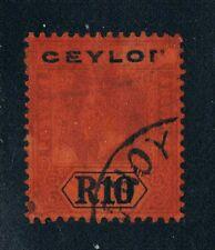 Ceylon 1912 - R10 KGVI Portrait {Purple & Black on Red} -SC 213 [SG 318] USED N4