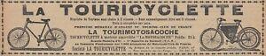 V6028 Touricyclette - Tourimotosacoche - 1904 Vintage Advertising - Advertising