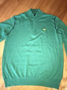 CLUBHOUSE COLLECTION Masters Cotton Cashmere Blend 1/4 Zip Golf Sweater M Medium