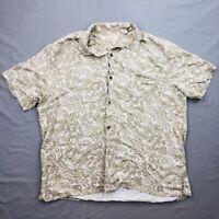 Island Republic Mens Hawaiian Floral Aloha Camp Shirt XXL Silk Rayon Blend 14K
