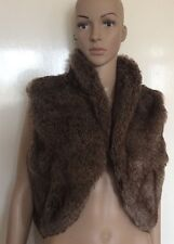 MARKS AND SPENCER, BROWN FAUX FUR SHRUG/BOLERO, MEDIUM/LARGE, NWOT,