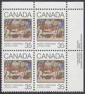 Canada - #872 Christmas Plate Block -MNH