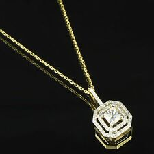 "Princess Cut Solitaire Pendant Necklace Set 18"" Chain 14k Gold Over 925 Silver"