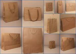 Brown Gift Bags Kraft Paper pk 12 Present Shop Loot Party Occasion Craft