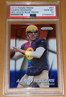 Pop 8!💎2014 Aaron Rodgers PANINI RED WHITE BLUE PRIZM REFRACTOR #67 PSA 10 BGS