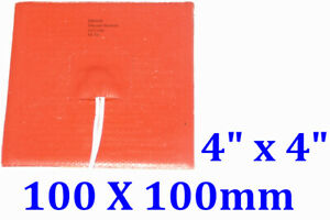 """4"""" X 4"""" 100 X 100mm 12V 70W with 3M backing Silicone Rubber Heating Pad JSRGO"""