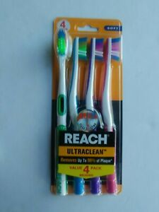 4 Pack of Reach Ultraclean Soft Toothbrushes NEW Great Colors