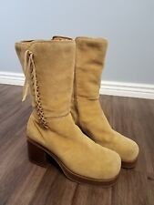 Skechers Women's Boots Zip Up Mid Calf Beige Leather Sz 10