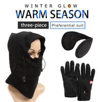 Winter Windproof Outdoor Fleece Touch Glove Face Mask Hat EarMuff Christmas Gift