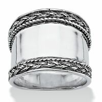 .925 Sterling Silver Braided Edge Cigar Band Style Ring
