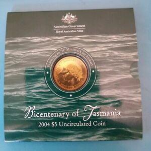 2004 Royal Aust Mint Bicentenary of Tasmania UNC $5 'H' Mint Mark Coin