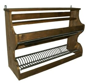 Piattaia in legno colore noce gocciolatoio scolapiatti in acciaio inox credenza