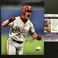 Autographed/Signed LENNY DYKSTRA Nails Philadelphia Phillies 8x10 Photo JSA COA