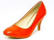 Ladies Womens Mid Heel Court Shoe / Office / Formal Shoes - Orange - UK Size 5