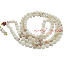 8MM 100% Natural Tibetan Buddhist Tridacna Bracelet Mala 108 Beads Necklace