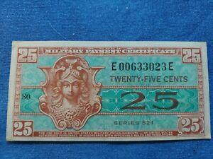 Series 521 25 Cents MPC Military Payment Certificate Crisp Unc.