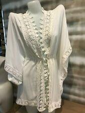 La Blanca Costa Brava Crochet Kimono Tunic Cover Up NWT $129 2 4 6 XS Small NEW