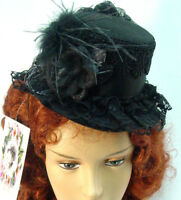 Mini tophat wool felt Riding Hat Ladies Black OldWest Victorian Westworld style