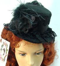 Mini tophat wool felt Riding Hat Ladies Black OldWest Victorian Westworld style