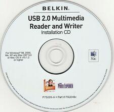 USB 2.0 Multimedia Reader and Writer by Belkin ~ Installation CD ~ 2005