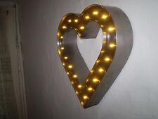 romantique Cœur INDUSTRIEL Bespoke English Metalique acier brossé Lampe LED