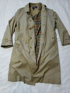 Men Burberrys Vntg Trench Overcoat Wool Jacket Coat Long Removable Insulated 38