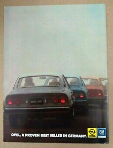 Opel Manta Original 1974 Print Ad Proven Best Seller Germany GM General Motors