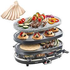 VonShef 3 in 1 Natural Stone Raclette Grill Crepe Tapas Maker Fondue Hotplate