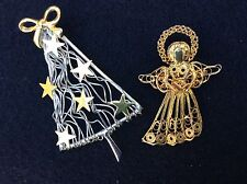 CHRISTMAS BROOCH GOLD TONE ANGEL AND SILVER TONE TREE WITH GOLD TONE STARS & BOW