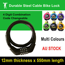 Colour Bike Bicycle Lock 4 Digit Combination Code Resetable Steel Cable Security