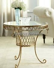 Horchow Mirror Top LAUREL Greek Key Accent Table Gold Contemporary Classic Iron