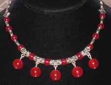Ruby Red Gemstone & Bali Style Silver Bead Dangle Bib Necklace