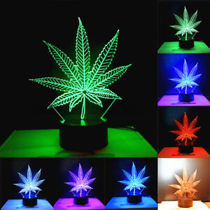 US Maple Leaf 3D LED Light Lamp Acrylic Colorful Changeable Remote Control USB