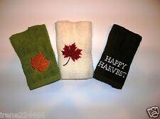3pk Croft & Barrow Bath Washcloths Maple Leaf Happy Harves 12x12 Embroidered NWT