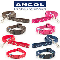 Ancol Adjustable Collar Dog Vintage Polka Dog  Brown Red Blue Pink 1m Lead