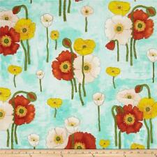 Michael Miller Vignette Poppies On Aqua Cotton Quilt Fabric   BFab