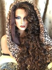 "Incredibly Beautiful, Curly Brown/Red , 32""Long LaceFront HUMAN HAIR BLEND WIG!!"