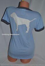 Victoria's Secret PINK Dog Logo White Blue Gray Ringer Crew Tee Short Sleeves S