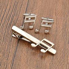 1 Set Charm Musical Note Tie Clip Bar Necktie Pin Cufflinks Mens Suits Jewellery
