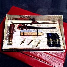 Calligraphy Set with dip pen,3 nibs,2 sticks sealing wax,wooden seal and 2 inks