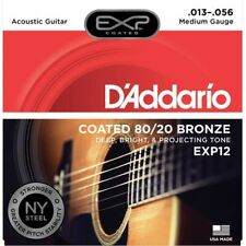 3 Sets D'Addario EXP12 Coated 80/20 Bronze Acoustic Guitar Strings Medium 13-56