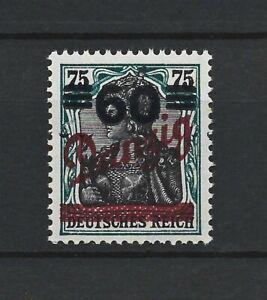 DR Danzig Rare WW1 Stamp 1921 Danzig MNH #72 Signed Gruber Overprint on Germania
